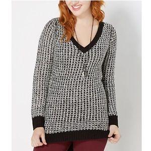 Poof! Sweaters - Oversized Boyfriend Sweater Vneck White Waffle🖤