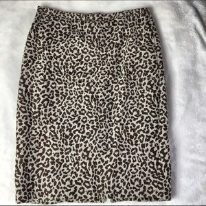 J.Crew Cheetah Print Linen Pencil Skirt