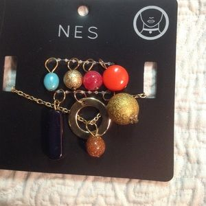 BNWT Multi-charm multi-color gold necklace