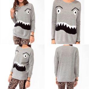 Forever 21 size medium monster gray sweater