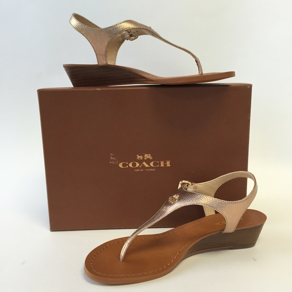6e455ac788f1 NIB Coach Vitalia Metallic Leather Wedge Sandals
