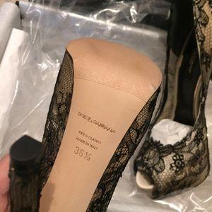 3a381701b15 Dolce   Gabbana Shoes - Dolce Gabbana Black Champagne Lace Satin Platform