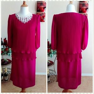 VTG Dark Pink Dress Era 1980's