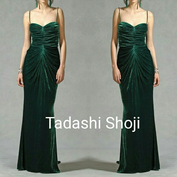 Tadashi Shoji Dresses   Emerald Green Velvet Gown   Poshmark