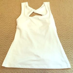 Prana tank top white small twisted cut out back