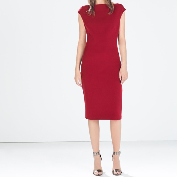 fe6cb39c7c3c Zara Dresses | Sale Burgundy Boatneck Tube Dress | Poshmark