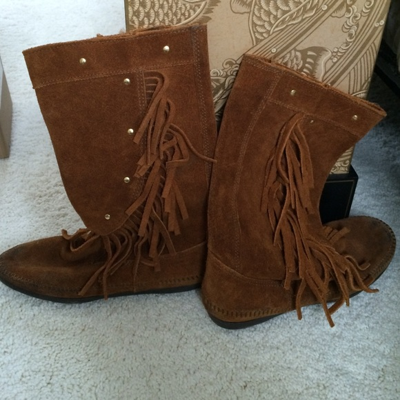 Mid Calf Brown Suede Fringe Boots