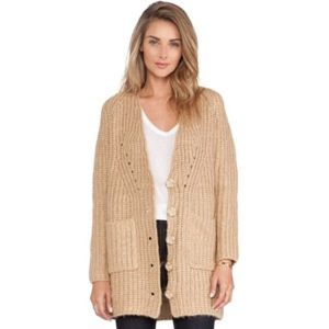 New cardigan sweater camel candela small