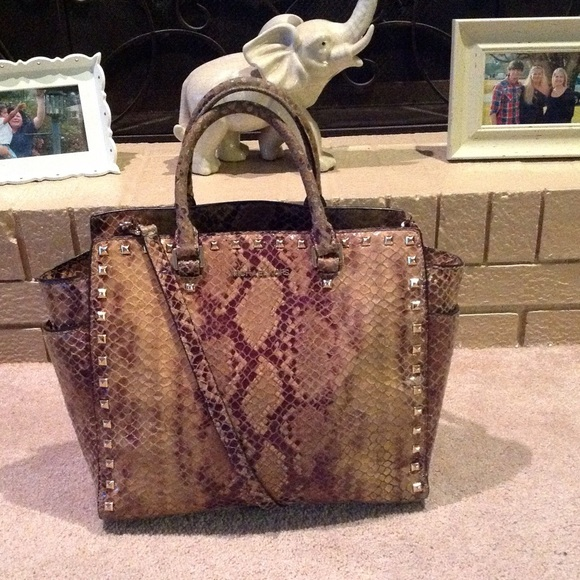 3260c219bd MAKE OFFER Michael Kors XL Python Studded Selma. M_56cf929e729a66d39a0014a7