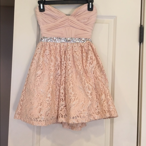 Macy S Dresses Nude Pink Strapless With Silver And Lace Dress