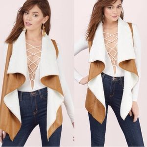 Boutique Tops - •FINAL PRICE•Camel Suede and Sherpa Shearling Vest