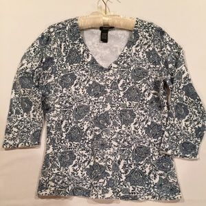 Peck & Peck Collection Navy & White Sweater