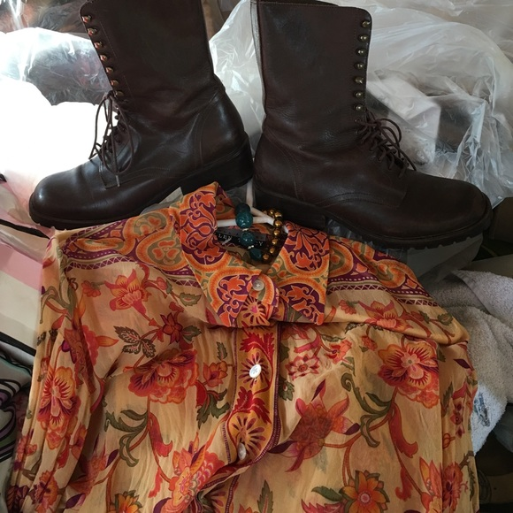 14022f848e DKNY Shoes | Donna Karan Leather Combat Boots 85 M | Poshmark