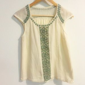 💚Anthropologie Embroidered Boho Top