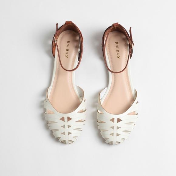 e820dfd29785 Cream + Cognac Faux Leather Huaraches Sandals