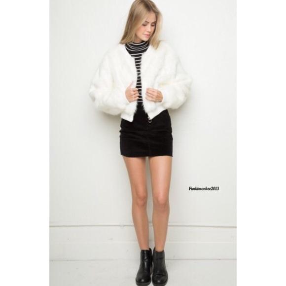 0b2074a3d Brandy Melville white Fiona fur bomber jacket NWT
