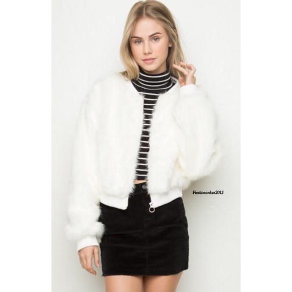 Brandy Melville - Brandy Melville white Fiona fur bomber jacket ...