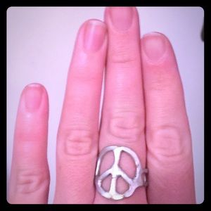 Silver tone peace sign ring