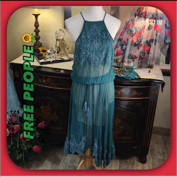 4f9aec78c5da Free People Dresses | Brand New Dark Teal Chiffon Maxi Dress | Poshmark