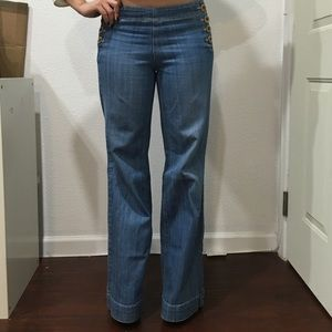 Denim high waisted stretch pants