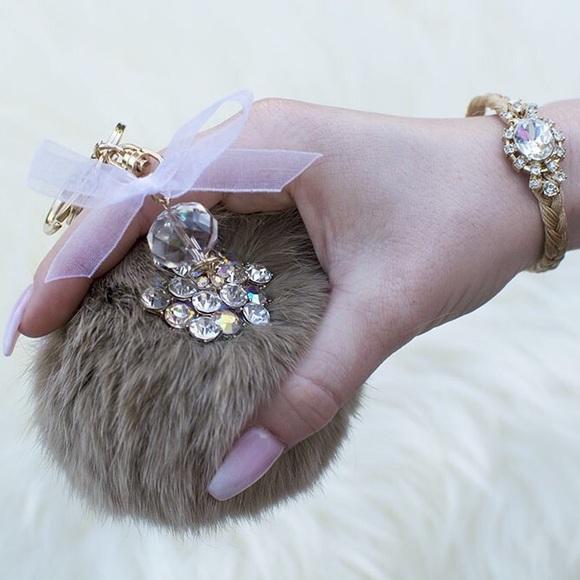 Tanya Kara Accessories - Tan Fur Ball Keychain