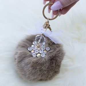 Tan Fur Ball Keychain