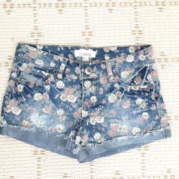 Forever 21 Pants - Like NEW Forever21 floral blue denim shorts