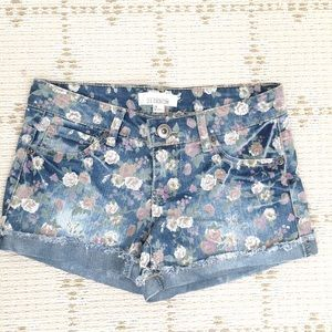 Like NEW Forever21 floral blue denim shorts