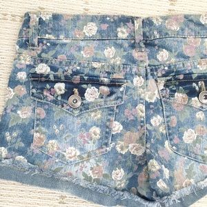 Forever 21 Shorts - Like NEW Forever21 floral blue denim shorts