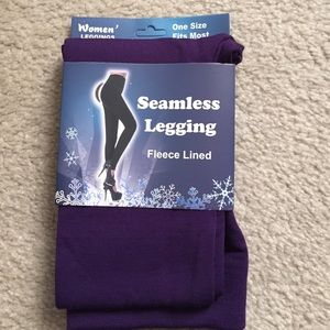 Pants - NWT Purple Fleece-lined Leggings