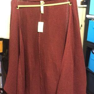 Maroon knit slouchy cardigan