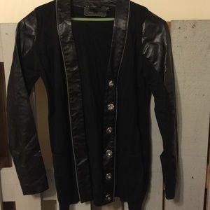 Black faux leather cardigan