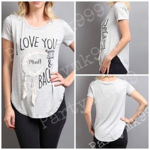 April Spirit Tops - Love you to the moon graphic top w/fringe feather