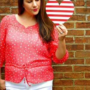 Charlotte Russe Tops - Red and White Heart Print Top