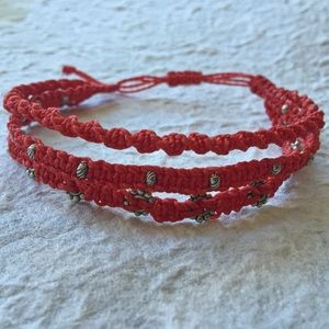 Ketzali Jewelry - red stackable wrap bracelet 3 in 1 boho macrame.