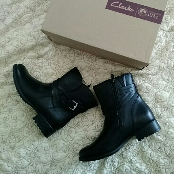 Womens Boots Clarks Plaza Square Black Waterproof Leather