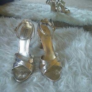 [topshop] Gold ankle strap heels