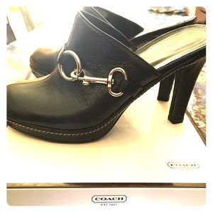 Black leather coach Clogs
