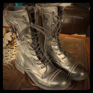 Black Roxy Faux Leather Combat Boots