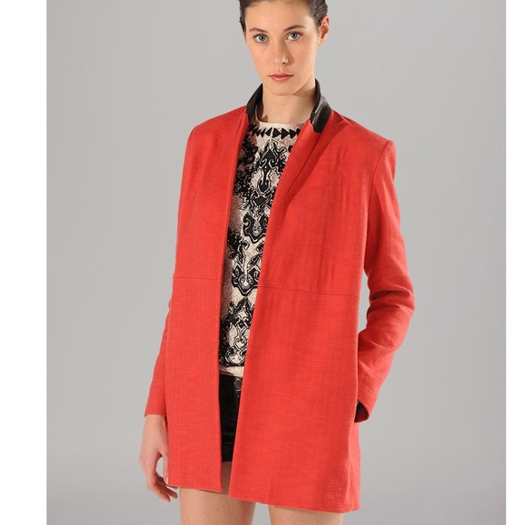 91% off Maje Jackets & Blazers - Maje Red Coat Blazer Leather 40 ...