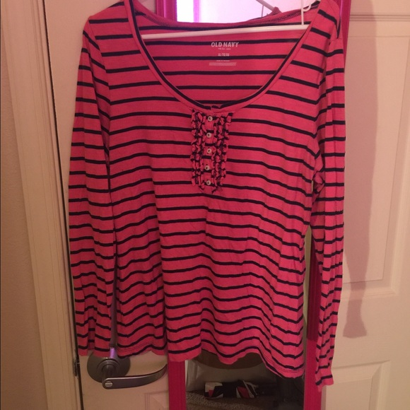 47 off old navy tops a long sleeved striped pink and for Navy blue striped long sleeve shirt