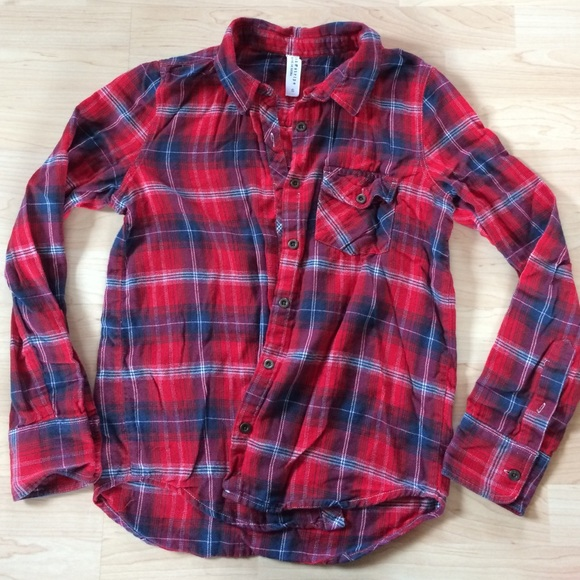 aeropostale red white navy blue flannel shirt from