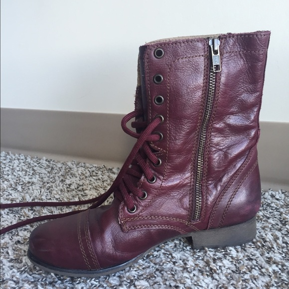 19bfbe07153 Steve Madden 'TROOPA2-0' combat boots Wine Leather