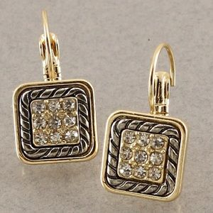 Jewelry - Square Crystal frenchback earrings