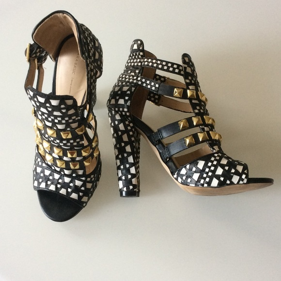 69% off Zara Shoes - Zara black and white strappy gold studded ...