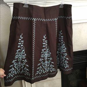 Dress Barn Dresses & Skirts - 💸SALE💸 Brown linen embroidered skirt