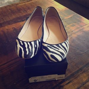 J.Crew Collection Nora Calf Hair Flats in Zebra