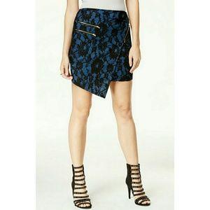 Material Girl Dresses & Skirts - Blue with black lace asymmetrical zipper skirt