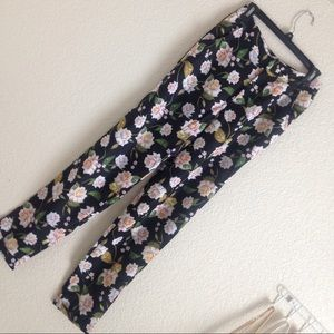 High Waist Trouser - Floral/Black