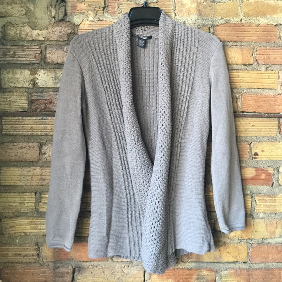89th Madison Sweaters 89th Madison Gray Open Front Knit Cardigan